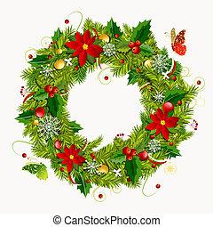 krans, ontwerp, kerstmis, jouw