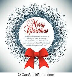 krans, opmerkingen, gemaakt, kerstmis, muzikalisch