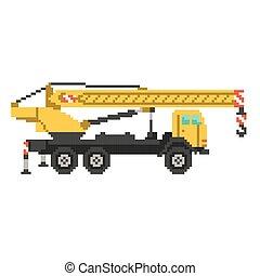 kranservice, vektor, lastwagen, pixel