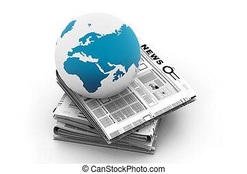 krant, globe, stapel