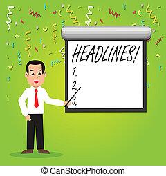 krant, headlines., het tonen, wijzende, stropdas, foto, bovenzijde, wall., schrijvende , zakelijk, showcasing, stok, vasthouden, conceptueel, artikel, witte , hand, opschrift, scherm, man