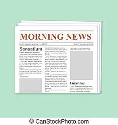 krant, journaal, vector, template., dagelijks papier, plat,...