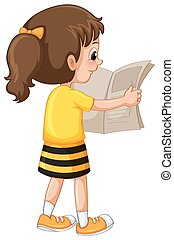 krant, klein meisje, readin