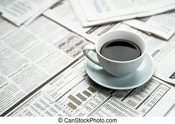 krant, koffie, zakelijk