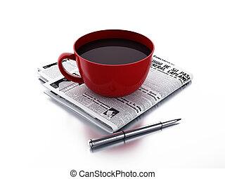 krant, koffiekop