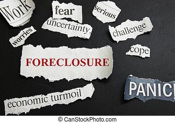 krant, krantekoppen, het tonen, foreclosure, en, slecht,...