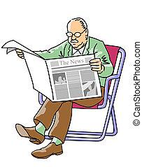 krant, lezende , grootvader