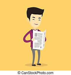krant, lezende , illustration., vector, man