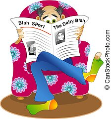 krant, lezende