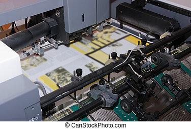 krant, machine, bedrukt, compensatie