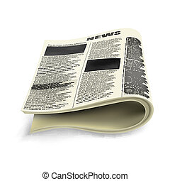 krant, oud, ineengevouwen