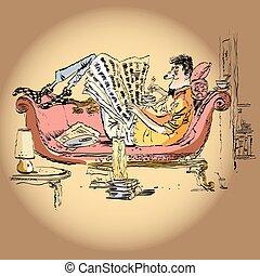 krant, thuis, lezende , man