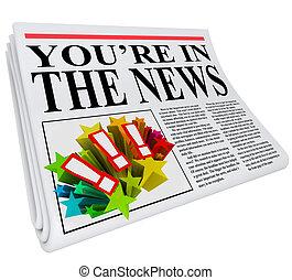 krant, u bent, aandacht, blootstelling, nieuws