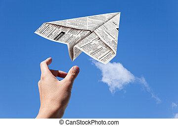 krant, vliegtuig