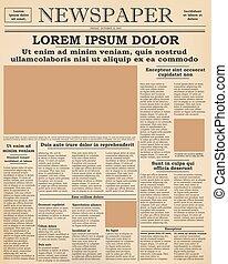 krant, voorkant, oud, pagina
