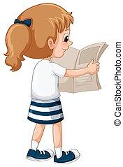 krant, weinig; niet zo(veel), lezende , meisje