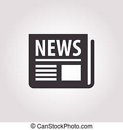 krant, witte achtergrond, pictogram