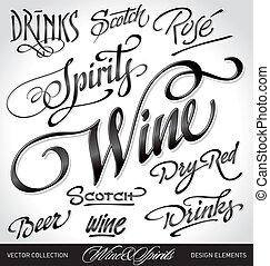 krantekoppen, drank, set, (vector)