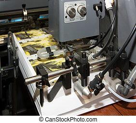 kranten, machine, bedrukt, compensatie