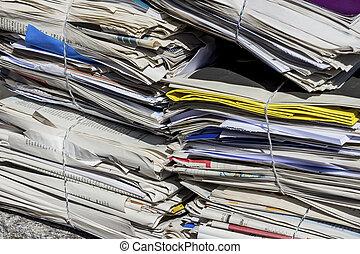kranten, paper., oud, stapel
