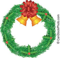 kranz, abbildung, schleife, weihnachten, rotes , glocken