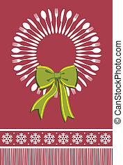 kranz, besteck, hintergrund, weihnachten