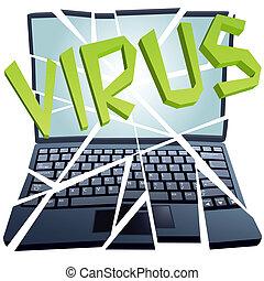 krasch, bryter, styckena, virus, dator säkerhet, laptop