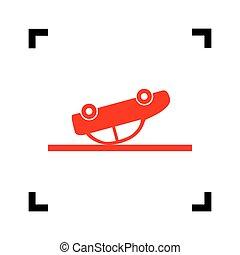 kraschat, bil, skylt., vector., röd, ikon, insida, svart, fokusera, hörnen, vita, bakgrund., isolated.