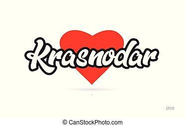 krasnodar city design typography with red heart icon logo - ...