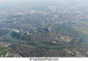 City Krasnodar and Kuban river, Russia