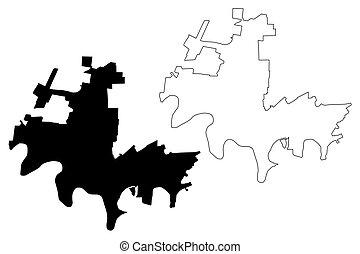 Krasnodar City (Russian Federation, Russia) map vector ...