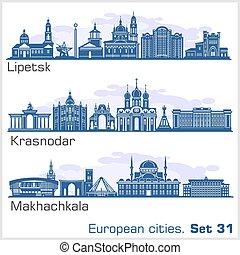Krasnodar, Makhachkala, Lipetsk City skyline set. Russia. ...