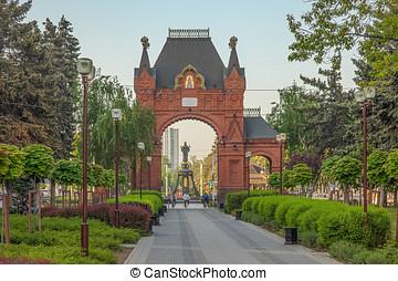 krasnodar, oroszország, -, lehet, 2, 2017:, triumphal boltoz, közül, alexandrov.