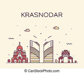Krasnodar skyline Krasnodar Krai Russia art vector - ...