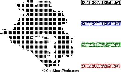 Krasnodarskiy Kray Map in Dot Style with Grunge Name Stamps...