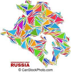 Krasnodarskiy Kray Map - Mosaic of Color Triangles - Mosaic ...