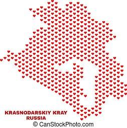 Krasnodarskiy Kray Map - Mosaic of Love Hearts - Mosaic ...
