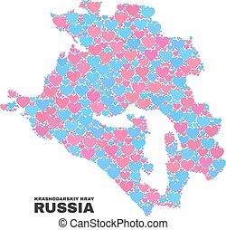 Krasnodarskiy Kray Map - Mosaic of Lovely Hearts - Mosaic ...