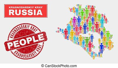 Krasnodarskiy Kray Map Population Demographics and Textured Stamp