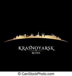 krasnoyarsk, ロシア, 都市 スカイライン, シルエット, 黒い背景