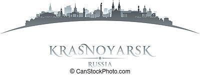 Krasnoyarsk Russia city skyline silhouette white background