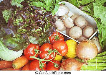 krat, met, fris, organisch, groentes