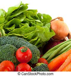 krat, met, groentes
