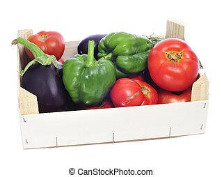 krat, met, organisch, groentes