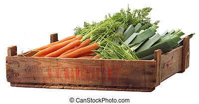 krat, van, organisch, groentes