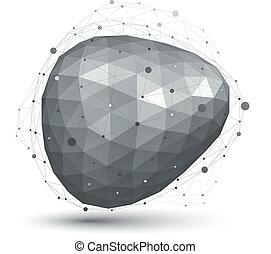 krata, geometryczny, abstrakcyjny, skomplikowany, wektor, obiekt, jednorazowy, 3d
