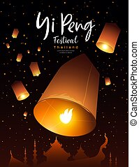 krathong, flotter, peng, vecteur, yi, festival, thaïlande, lanterne, loy