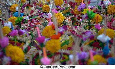 Krathongs for Loykrathong festival in Thailand