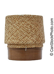 KRATIB Wooden sticky rice box Thai style on white background with clipping path.