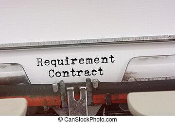 krav, avtal, ord, maskinskrivit, på, a, årgång, typewriter.